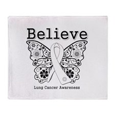 Believe Lung Cancer Throw Blanket