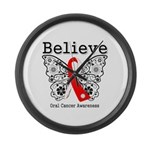 Believe Oral Cancer Large Wall Clock