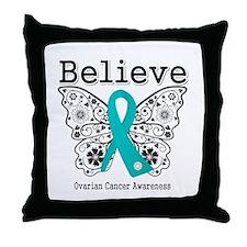 Believe Ovarian Cancer Throw Pillow