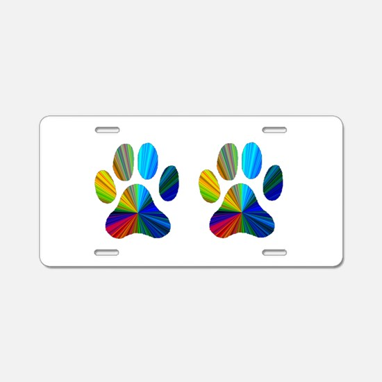 2 PAWS Aluminum License Plate