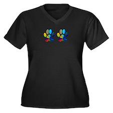 2 PAWS Women's Plus Size V-Neck Dark T-Shirt