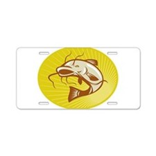 Catfish Jumping Retro Aluminum License Plate