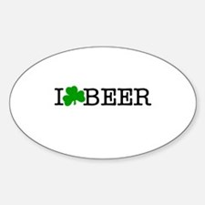 I Love (Clover) Beer Sticker (Oval)