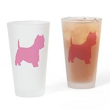 Pink Westie Dog Drinking Glass