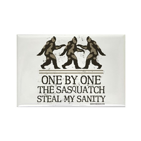 One By One The Sasquatch Rectangle Magnet