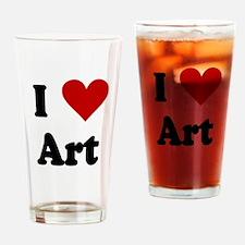 I Love Art Drinking Glass