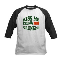 Kiss Me I'm Drunkish Kids Baseball Jersey