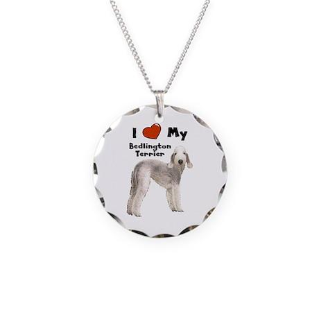 I Love My Bedlington Terrier Necklace Circle Charm