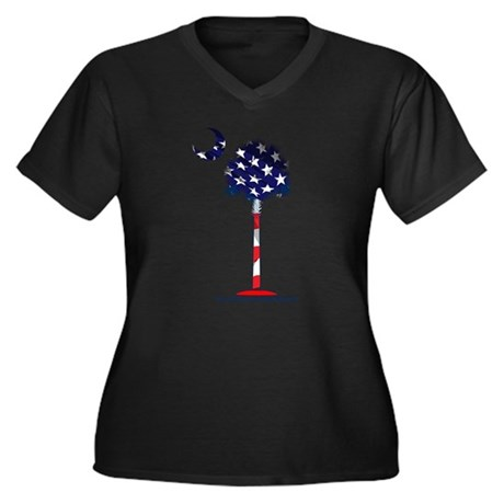 Clothing Women's Plus Size V-Neck Dark T-Shirt