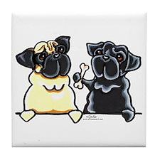 Bone to Pug Tile Coaster