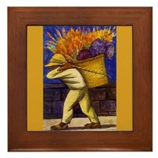 Diego Rivera Flower Carrier Art Framed Tile