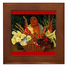 Diego Rivera Red Flower Vendor Art Framed Tile