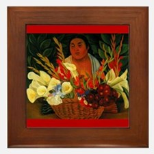 Diego Rivera Red Flower Vendor Art Framed Tile