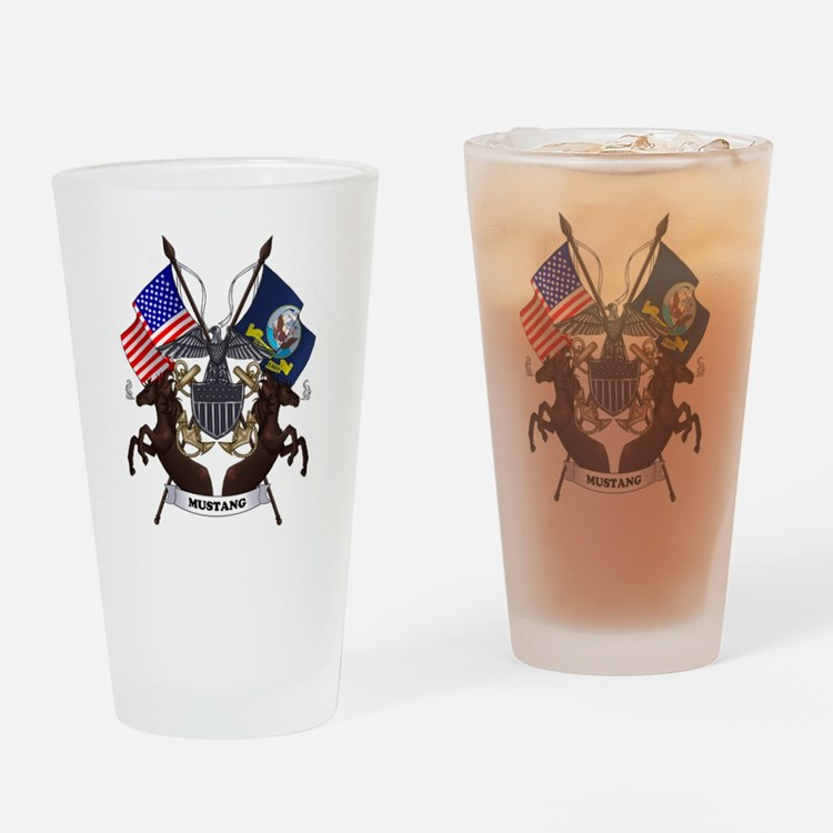 Navy Mustang Drinking Glass