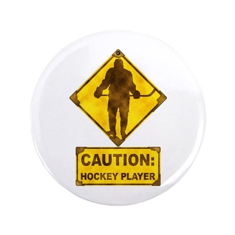 """Hockey Player Caution Sign 3.5"""" Button (100 pack)"""