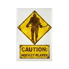 Hockey Player Caution Sign Rectangle Magnet