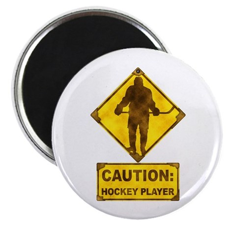 """Hockey Player Caution Sign 2.25"""" Magnet (100 pack)"""