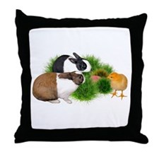 Dutch Bunnies with Chick Throw Pillow