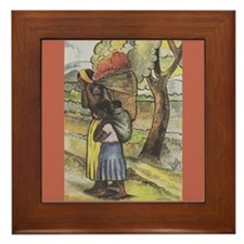 Diego Rivera Woman Red Flowers Art Framed Tile