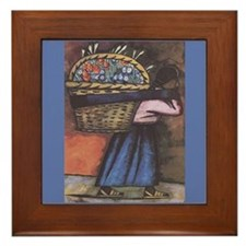 Diego Rivera Woman Blue Flowers Art Framed Tile