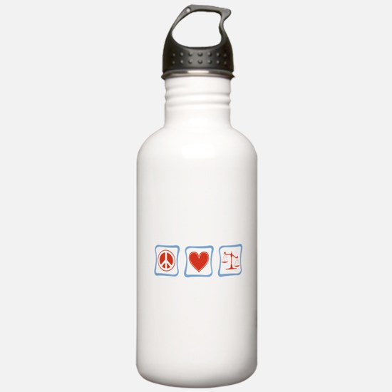 Peace, Love and Lawyers Water Bottle