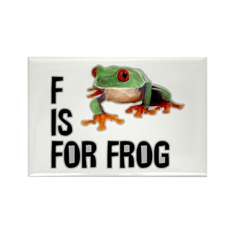F Is For Frog Rectangle Magnet