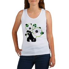 Irish Panda Bear Shamrock Women's Tank Top