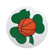 Irish Basketball Shamrock Ornament (Round)