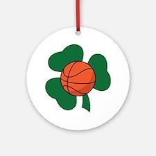 Irish Basketball Shamrock Ornament (Round)
