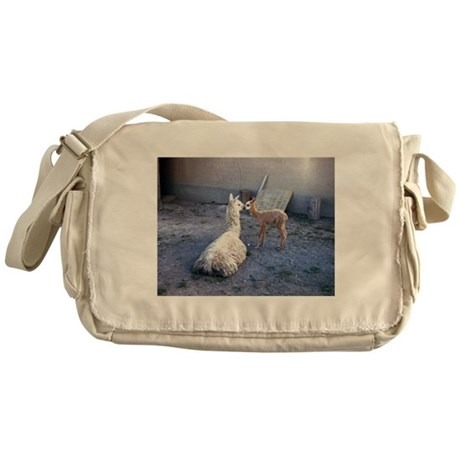mom and baby llama Messenger Bag