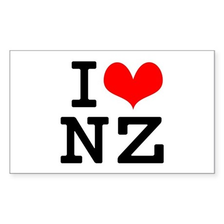 I Love NZ Sticker (Rectangle 10 pk)