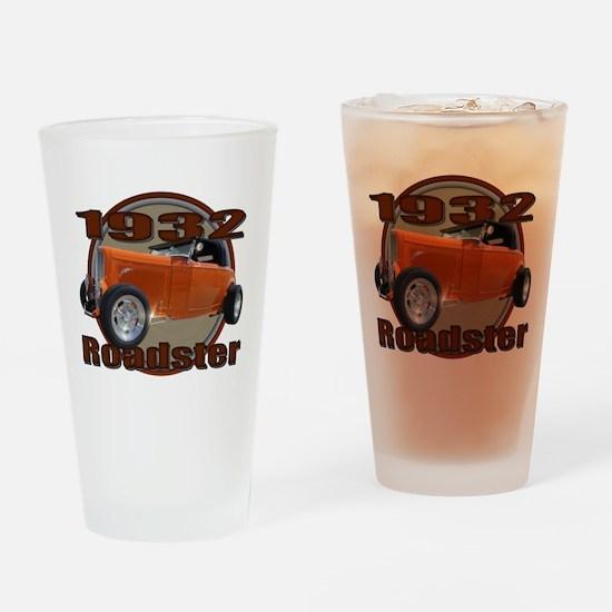 1932 Ford Roadster Orange Cra Drinking Glass