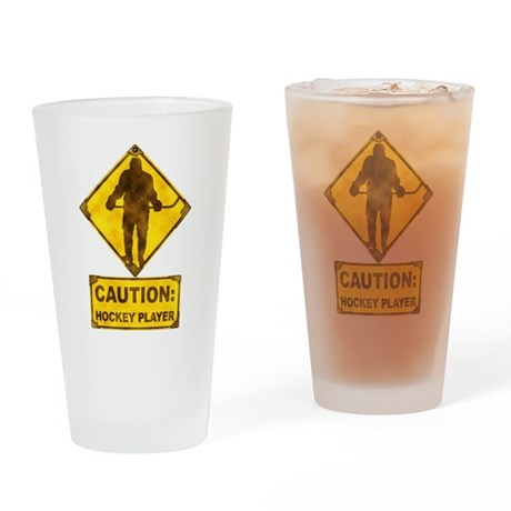 Hockey Player Caution Sign Drinking Glass