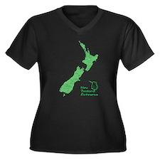 New Zealand Map Women's Plus Size V-Neck Dark T-Sh