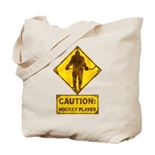 Hockey Player Caution Sign Tote Bag