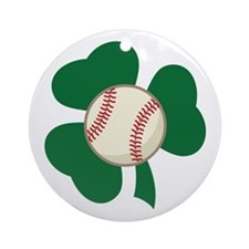 Irish Baseball Shamrock Ornament (Round)