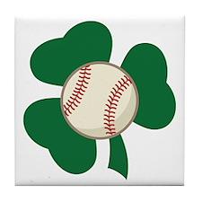 Irish Baseball Shamrock Tile Coaster