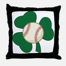 Irish Baseball Shamrock Throw Pillow