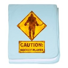 Hockey Player Caution Sign baby blanket
