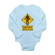 Hockey Player Caution Sign Long Sleeve Infant Body