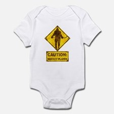 Hockey Player Caution Sign Infant Bodysuit