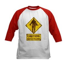 Hockey Player Caution Sign Tee