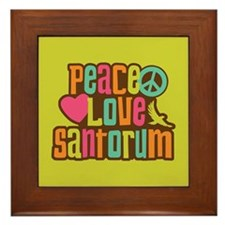 Peace Love Santorum Framed Tile