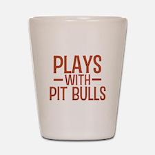 PLAYS Pit Bulls Shot Glass