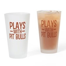 PLAYS Pit Bulls Drinking Glass