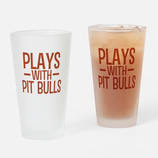 PLAYS Pit Bulls Drinking Glass