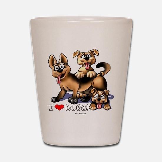 I Love Dogs Shot Glass