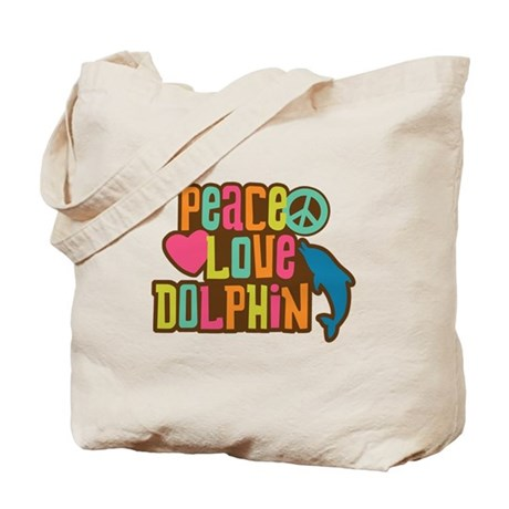 Peace Love Dophin Tote Bag