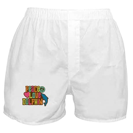 Peace Love Dophin Boxer Shorts