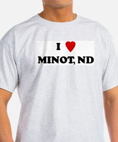I Love Minot Ash Grey T-Shirt